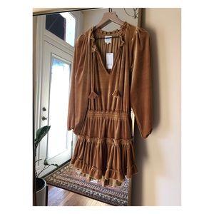 MISA LA Lorena Ruffle Velvet Mini Dress - size xs